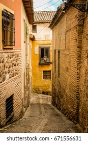 The winding streets of the old town in Toledo near Madrid, Spain