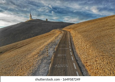 Winding up to the summit of Mont Ventoux