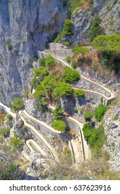 Winding switchbacks of Via Krupp on Capri, Capri island, Italy