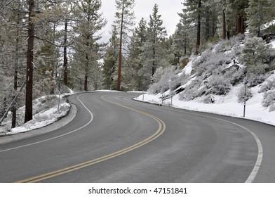 Winding winter road near lake Tahoe