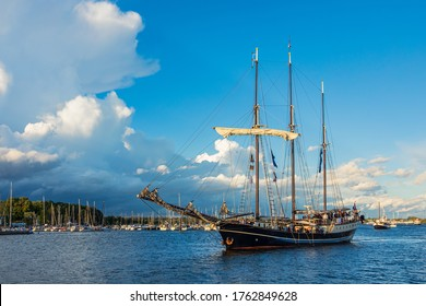 Windjammer on the river Warnow during the Hanse Sail in Rostock, Germany.