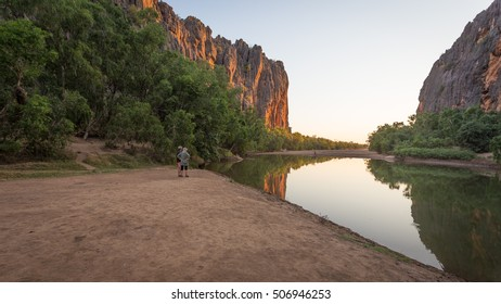 Windjana Gorge, Kimberley, Western Australia.  The dozens of crocodiles just add to the primeval feel to the gorge.