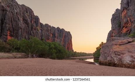 Windjana Gorge, Western Australia - Sep 9 2014: Tourist enjoy the peace and beauty of Windjana Gorge.  The Kimberley is one of the World's last wilderness areas.