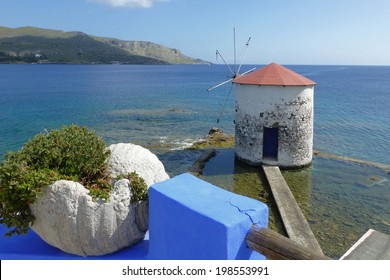 windmill in Aegean Sea on Leros island, Greece