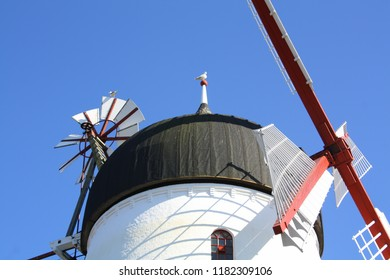 Windmill against a blue sky on the island Bornholm. Denmark