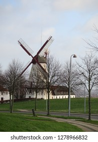 Dybbøl windmill against grey winter clouds in Southern Denmark, site of 1864 war with Germany