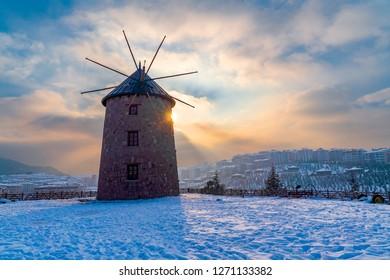 Windmill in Altinkoy acik hava muzesi, Ankara/Turkey