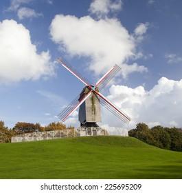 Windmill at autumn day, Bruges, Belgium