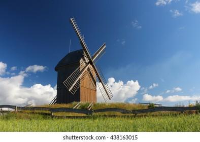 the windmill in beautiful morning