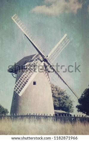 Windmill Bembridge Isle Wight Windmill Trees Stock Photo