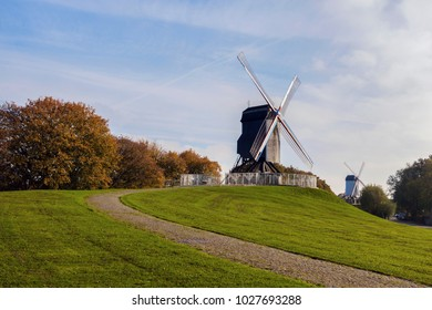 Windmill in Bruges. Bruges, Flemish Region, Belgium