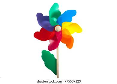 Windmill colorful toy isolate white background with clipping path