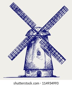 Windmill. Doodle style. Raster version