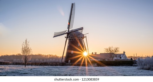 Windmill during sunrise
