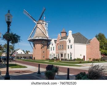 Windmill at Dutch village Pella, Iowa, USA,