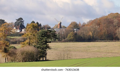 Windmill in the English Chiltern Hills in Autumn