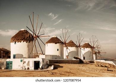 Windmill as the famous landmark in Mykonos Island, Greece.