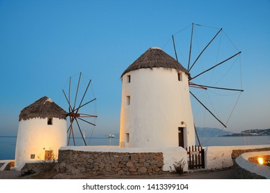 Windmill as the famous landmark in Mykonos Island, Greece.