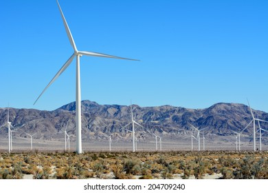 Windmill farm in the desert of Imperial Valley California.