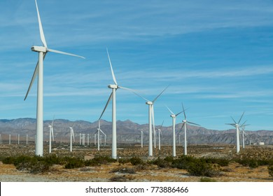 windmill farm near Palm Springs California on the San Gorgonio Mountain Pass in the San Bernardino Mountains