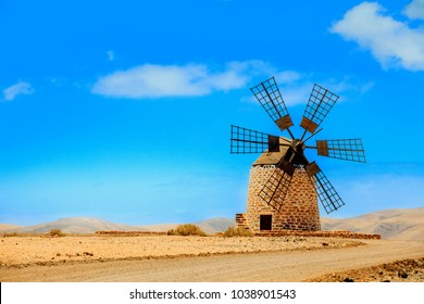 Windmill Fuerteventura . Old windmill. Tefia windmill Fuerteventura at Canary Islands of Spain