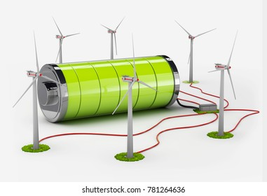 Windmill and full battery. isolated white, 3d Illustration