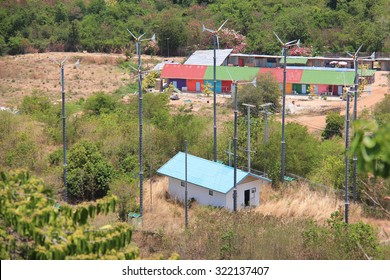 Windmill Generating Electricity for People on Larn Island, Pattaya, Thailand