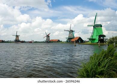 Windmill in Holland open-air museum windy mills in Zaanse Schans