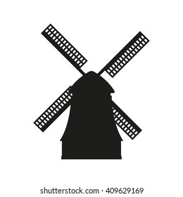Windmill icon. Black silhouette of mill isolated on white background.