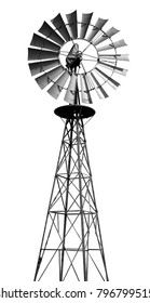 Windmill isolated on white with clipping path.