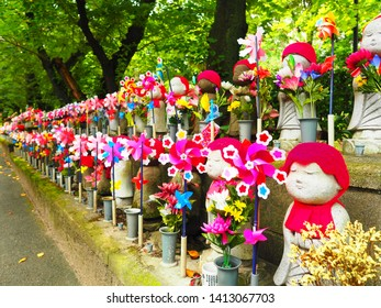 Windmill and Jizo. Jizo ;The Guardian Deity of Travelers and children