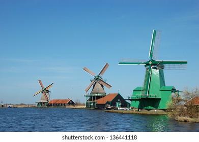 Windmill landscape in Zaanse Schans, Netherlands