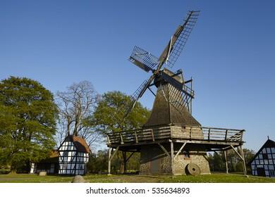 The windmill Levern (Stemwede, Germany) is part of the Westphalia Mill Street (Westfaelische Muehlenstrasse) in the rural district Minden-Luebbecke.
