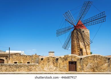 Windmill Moli den Xina in Algaida, Majorca, Spain, Europe