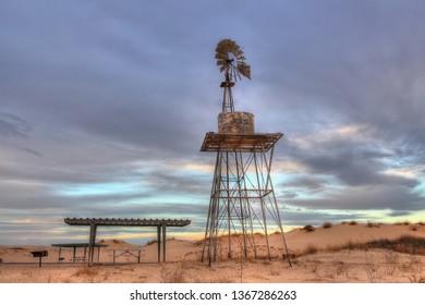 Windmill at Monahans Sand Dunes Park in Texas near Midland Odessa