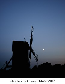 windmill and moon in �¶land sweden