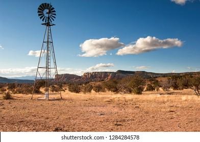 Windmill in New Mexico landscape