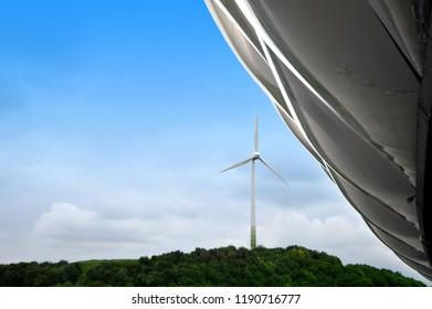 Windmill next to the Allianz Arena stadium