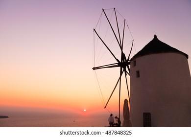 windmill of Oia in Santorini