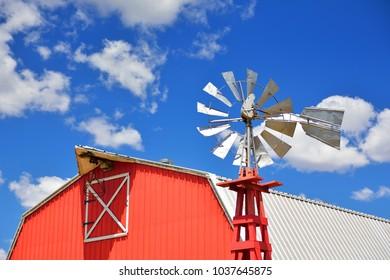 Windmill on an agricultural farm in Oklahoma, USA.