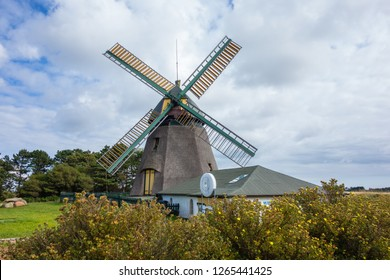 Windmill on the island in Amrum, North Sea Germany