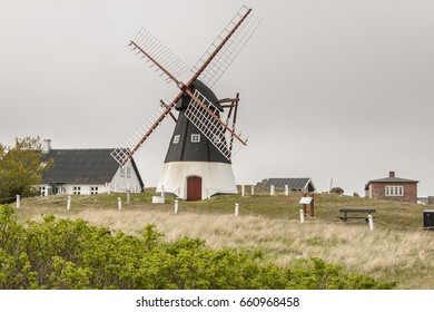 Windmill on the Mando island  in the Wadden Sea Park of Denmark, Europe.
