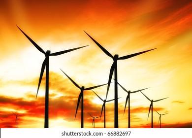 Windmill on the sunset