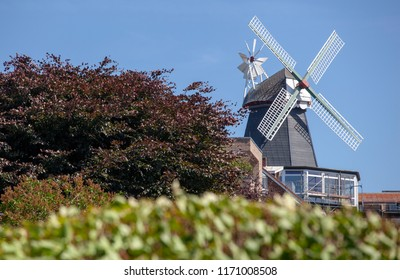 Windmill on the village of Laboe near Kiel, Germany