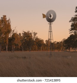 Windmill in a paddock in the late afternoon
