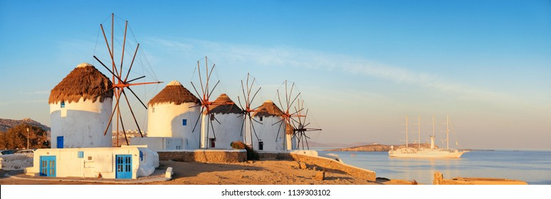 Windmill panorama as the famous landmark in Mykonos Island, Greece.
