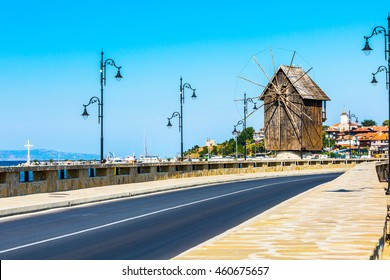 Windmill panorama in Nessebar or Nesebar in Bulgaria, Black sea