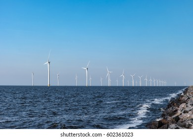 Windmill park Westermeerwind the largest wind farm offshore in the Netherlands. The wind farm produce 1.4 TWh of electricity, enough to provide electricity to over 400,000 households.Urk,Netherlands