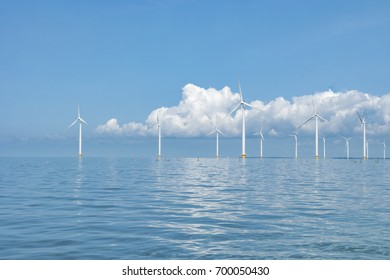 Windmill park Westermeerwind the largest wind farm offshore in the Netherlands. The wind farm produce 1.4 TWh of electricity, enough to provide electricity to over 400,000 households, Netherlands