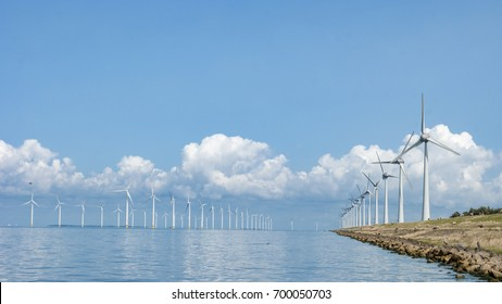 Windmill park Westermeerwind the largest wind farm offshore in the Netherlands. The wind farm produce 1.4 TWh of electricity, enough to provide electricity to over 400,000 households.,Netherlands